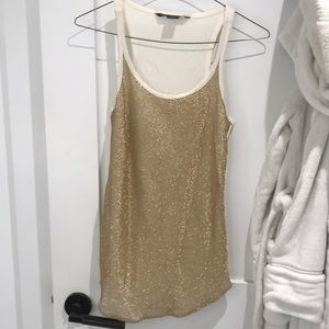 Armani Exchange Cream and Gold tank top